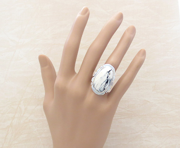 Image 1 of    White Buffalo Stone & Sterling Silver Ring Size 8.5 - 5137sn