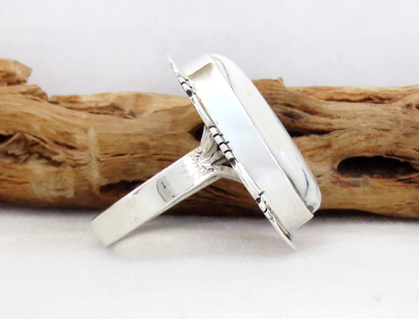 Image 2 of    White Buffalo Stone & Sterling Silver Ring Size 8.5 - 5137sn