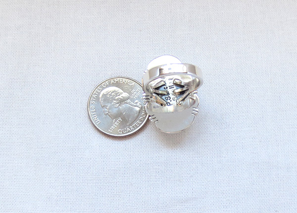 Image 3 of    White Buffalo Stone & Sterling Silver Ring Size 8.5 - 5137sn