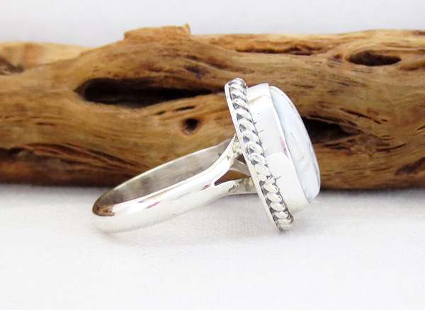 Image 2 of    White Buffalo Stone & Sterling Silver Ring Sz 6 Navajo Jewelry - 5138sn