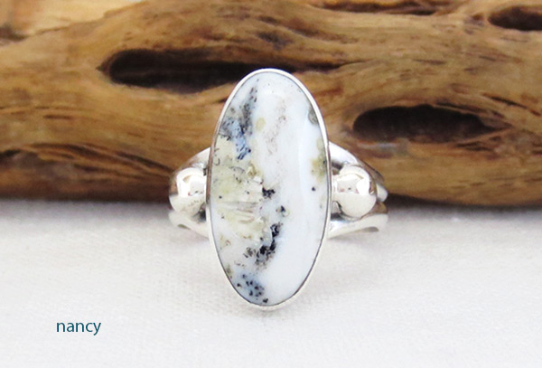 White Buffalo Stone & Sterling Silver Ring Sz 5 Navajo Jewelry - 5139sn