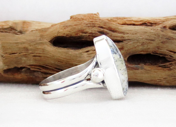 Image 2 of  White Buffalo Stone & Sterling Silver Ring Sz 5 Navajo Jewelry - 5139sn