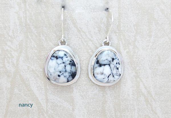 Image 0 of      Navajo Jewelry White Buffalo Stone & Sterling Silver Earrings - 5236sn
