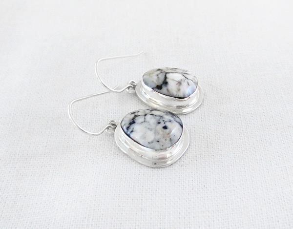 Image 1 of      Navajo Jewelry White Buffalo Stone & Sterling Silver Earrings - 5236sn