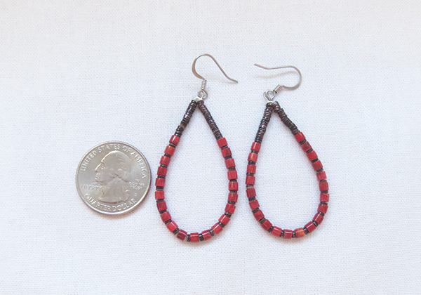 Image 2 of     Olive Shell Heishi & Red Coral Earrings Santo Domingo Jewelry - 5396rio