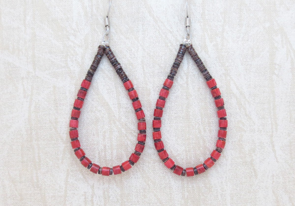 Olive Shell Heishi & Red Coral Earrings Santo Domingo Jewelry - 5396rio