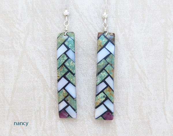 Mosaic Turquoise Inlay Earrings Santo Domingo Jewelry - 5241rio