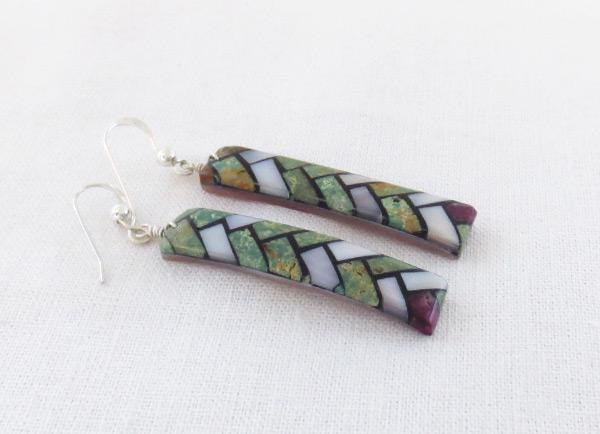Image 1 of    Mosaic Turquoise Inlay Earrings Santo Domingo Jewelry - 5241rio