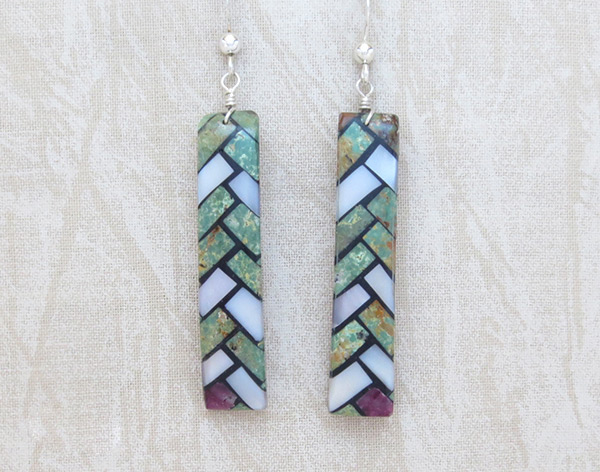 Image 0 of    Mosaic Turquoise Inlay Earrings Santo Domingo Jewelry - 5241rio