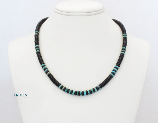 Image 1 of      Black Jet & Turquoise Rondelle Beaded Necklace Navajo Jewelry - 5239rio