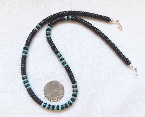Black Jet & Turquoise Rondelle Beaded Necklace Navajo Jewelry - 5239rio