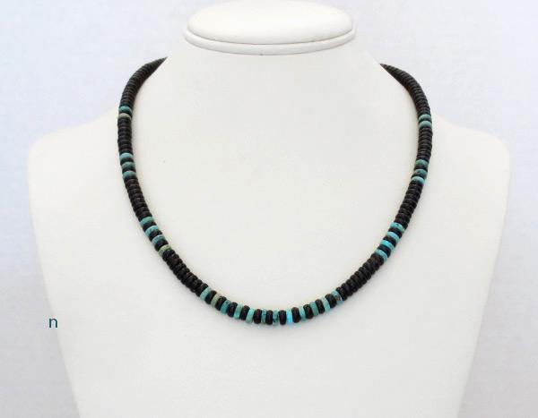 Image 2 of    Black Jet & Turquoise Rondelle Beaded Necklace Navajo Jewelry - 5239rio