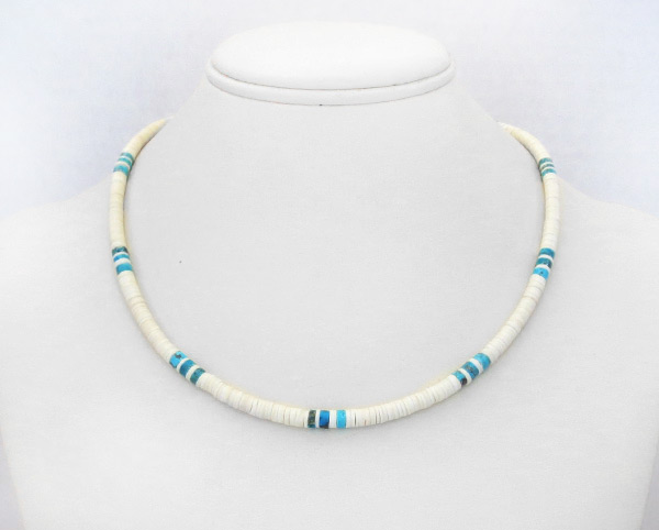 Turquoise White Clam Shell Heishi Necklace Santo Domingo Jewelry - 5240rio