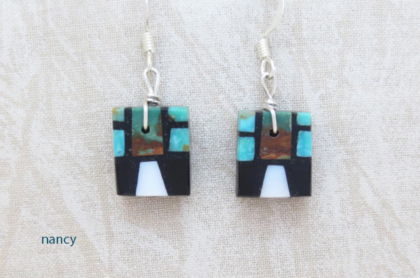 Turquoise & Jet Inlay Earrings Santo Domingo Jewelry - 2015rio