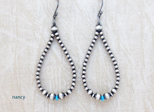 Turquoise Desert Pearls & Sterling Silver Earrings Navajo Jewelry - 2014rio