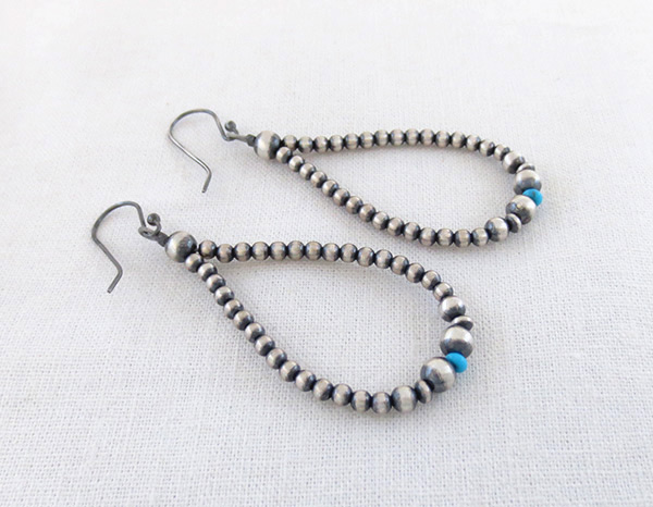 Image 1 of      Turquoise Desert Pearls & Sterling Silver Earrings Navajo Jewelry - 2014rio