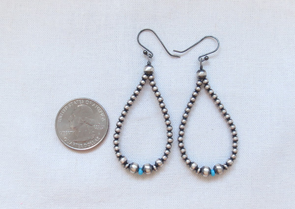 Image 2 of      Turquoise Desert Pearls & Sterling Silver Earrings Navajo Jewelry - 2014rio