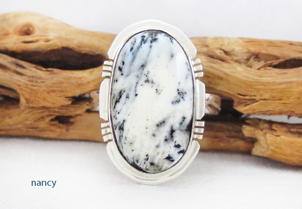 White Buffalo Stone & Sterling Silver Ring Sz 9 Navajo - 2013sn