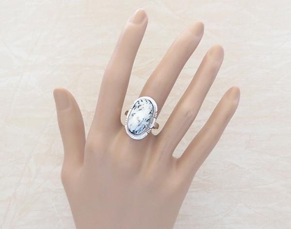 Image 1 of    White Buffalo Stone & Sterling Silver Ring Sz 9 Navajo - 2013sn