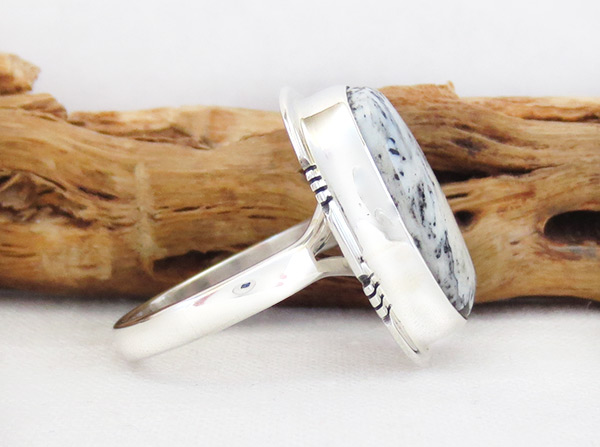 Image 2 of    White Buffalo Stone & Sterling Silver Ring Sz 9 Navajo - 2013sn