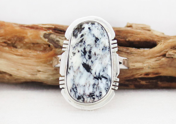 White Buffalo Stone & Sterling Silver Ring Sz 9 Navajo Jewelry - 2017sn