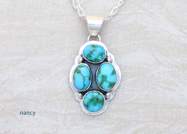 Turquoise & Sterling Silver Pendant W/Chain Navajo Jewelry - 5389sn