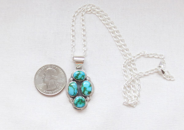 Image 1 of     Turquoise & Sterling Silver Pendant W/Chain Navajo Jewelry - 5389sn