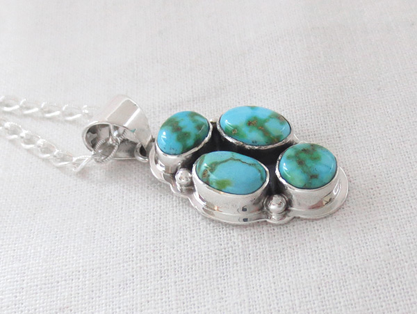 Image 2 of     Turquoise & Sterling Silver Pendant W/Chain Navajo Jewelry - 5389sn