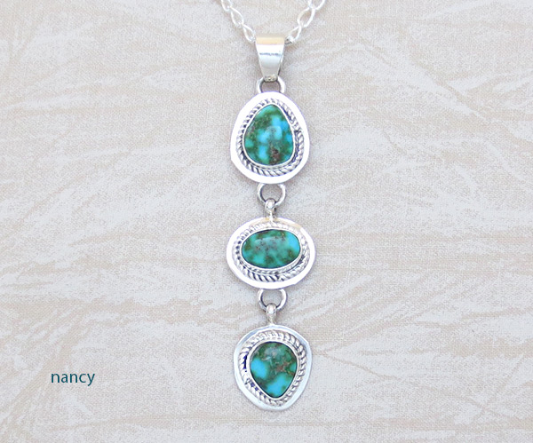 Image 0 of   Turquoise & Sterling Silver Pendant W/Chain Navajo Jewelry - 5391sn