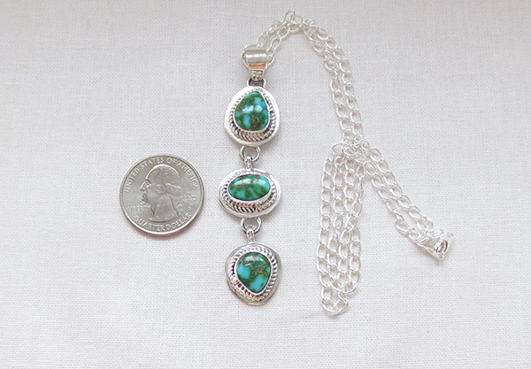 Image 1 of   Turquoise & Sterling Silver Pendant W/Chain Navajo Jewelry - 5391sn