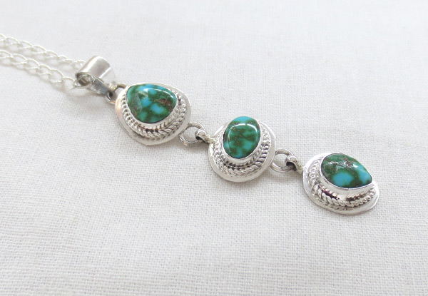 Image 2 of   Turquoise & Sterling Silver Pendant W/Chain Navajo Jewelry - 5391sn