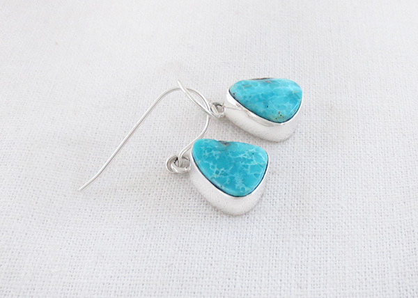 Image 1 of Small Turquoise & Sterling Silver Earrings Native American Jewelry - 2023sn