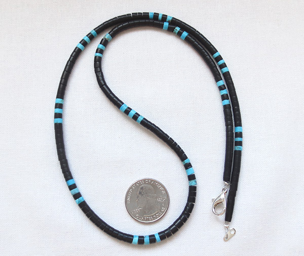 Image 0 of    Turquoise Black Jet Shell Heishi Necklace 24