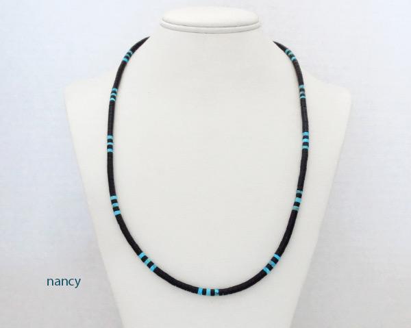 Image 1 of    Turquoise Black Jet Shell Heishi Necklace 24