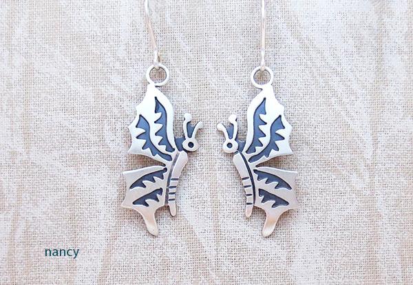 Image 0 of Satin Sterling Silver Butterfly Earrings Navajo Jewelry - 2029sn