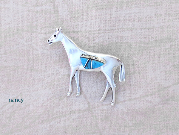 Image 0 of     Turquoise Inlay & Sterling Silver Horse Pin / Brooch Navajo Jewelry- 2027sn