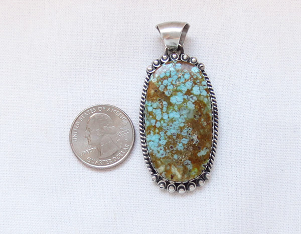 Image 1 of   Navajo Jewelry #8 Mine Turquoise & Sterling Silver Pendant - 2031dt