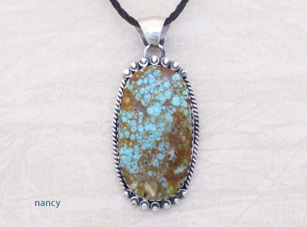 Navajo Jewelry #8 Mine Turquoise & Sterling Silver Pendant - 2031dt