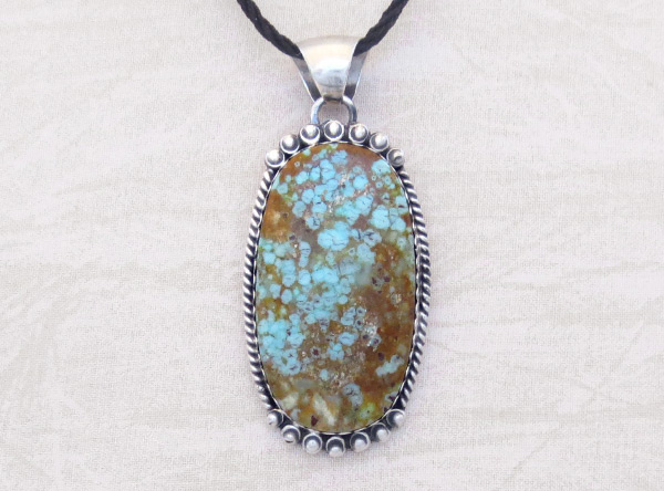 Image 0 of   Navajo Jewelry #8 Mine Turquoise & Sterling Silver Pendant - 2031dt