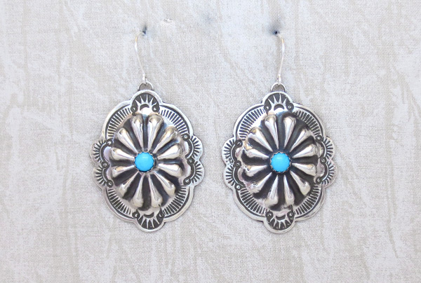 Image 0 of     Stamped Sterling Silver Repousee Turquoise Earrings Navajo Jewelry - 2028sn