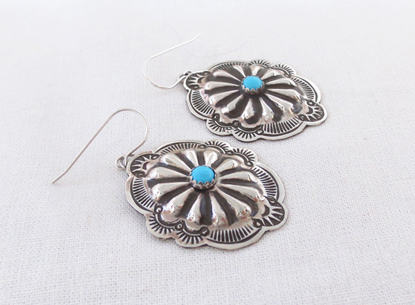 Image 1 of     Stamped Sterling Silver Repousee Turquoise Earrings Navajo Jewelry - 2028sn