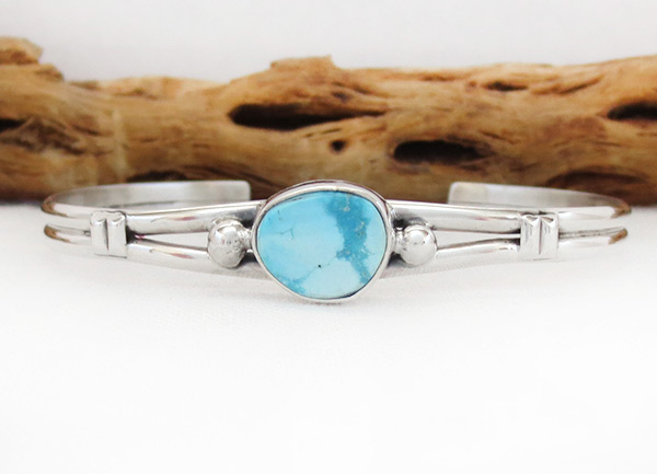 Turquoise & Sterling Silver Bracelet Native American Jewelry - 2019sn