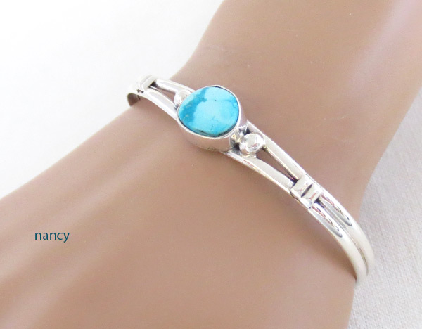 Image 1 of Turquoise & Sterling Silver Bracelet Native American Jewelry - 2019sn