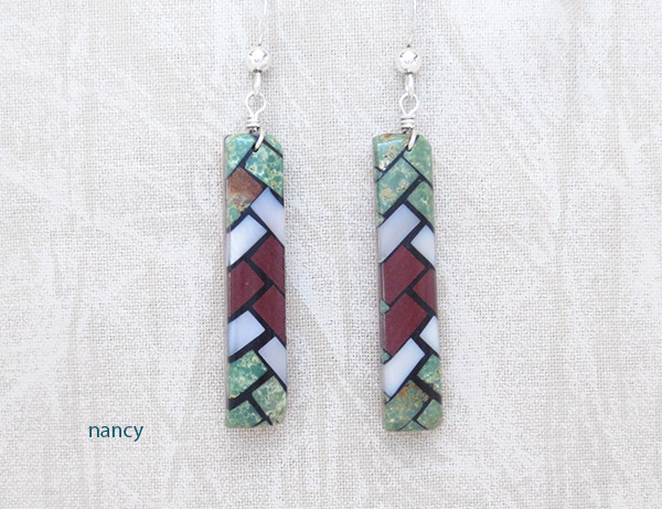 Mosaic Turquoise Inlay Earrings Santo Domingo Jewelry - 2036rio