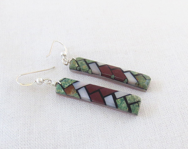 Image 1 of    Mosaic Turquoise Inlay Earrings Santo Domingo Jewelry - 2036rio
