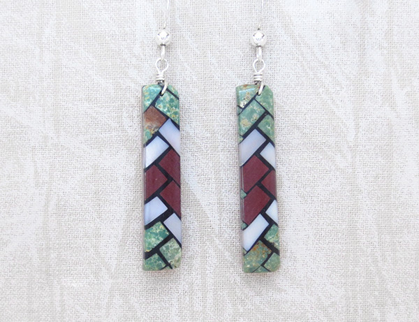 Image 0 of    Mosaic Turquoise Inlay Earrings Santo Domingo Jewelry - 2036rio