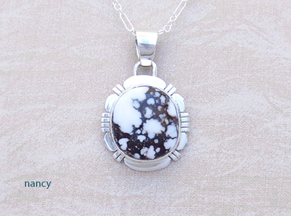 Image 0 of    Sterling Silver & Wild Horse Stone Pendant W/Chain Navajo Jewelry - 2035sn