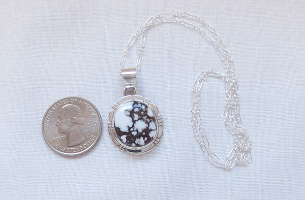 Image 1 of    Sterling Silver & Wild Horse Stone Pendant W/Chain Navajo Jewelry - 2035sn