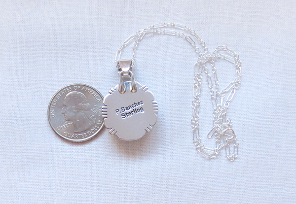 Image 2 of    Sterling Silver & Wild Horse Stone Pendant W/Chain Navajo Jewelry - 2035sn