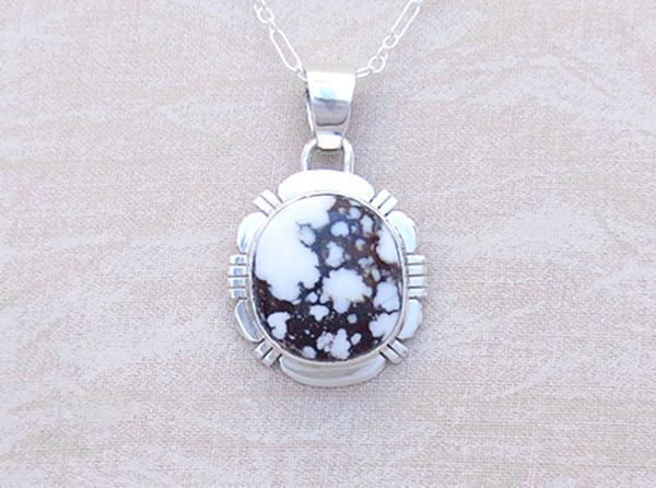 Sterling Silver & Wild Horse Stone Pendant W/Chain Navajo Jewelry - 2035sn